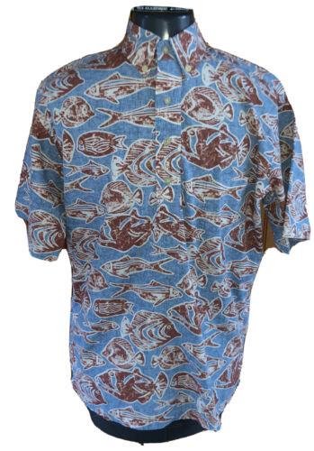 Reyn Spooner mens small blue brown fish print butt