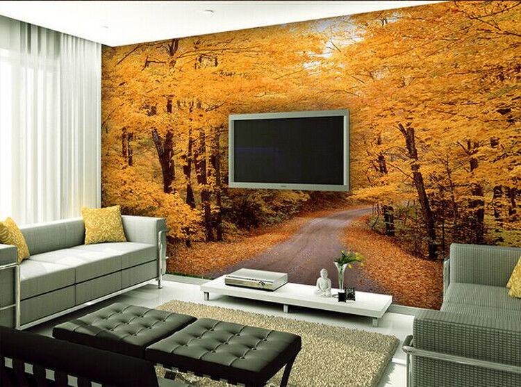 3D goldener Wald Herbst 83 Tapete Wandgemälde Tapete Tapeten Bild Familie DE