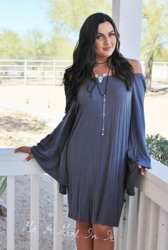 PLUS SIZE CHARCOAL GRAY GREY BOHO WING BELL LONG SLEEVE DRESS USA XL 1X 2X 3X