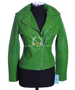 Chaqueta de cuero verde mujer