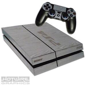 Playstation-4-PS4-Skin-Sticker-Kit-Grey-Wood-Grain-Effect-Burnished-Stamp