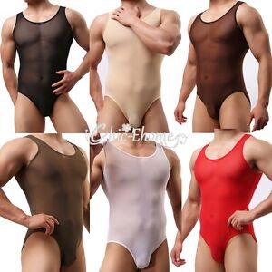 b055b6710b54 Image is loading Sexy-Mens-Mesh-See-Through-Thongs-Freestyle-Leotard-