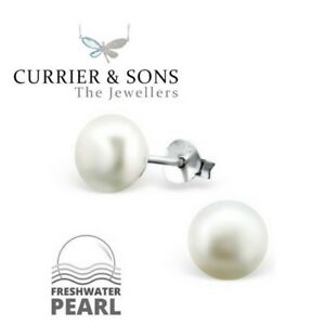 925-Sterling-Silver-White-Freshwater-Pearl-Stud-Earrings-7mm