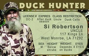 Si-Robertson-DUCK-HUNTER-plastic-ID-card-Drivers-License-second-amendment-2nd