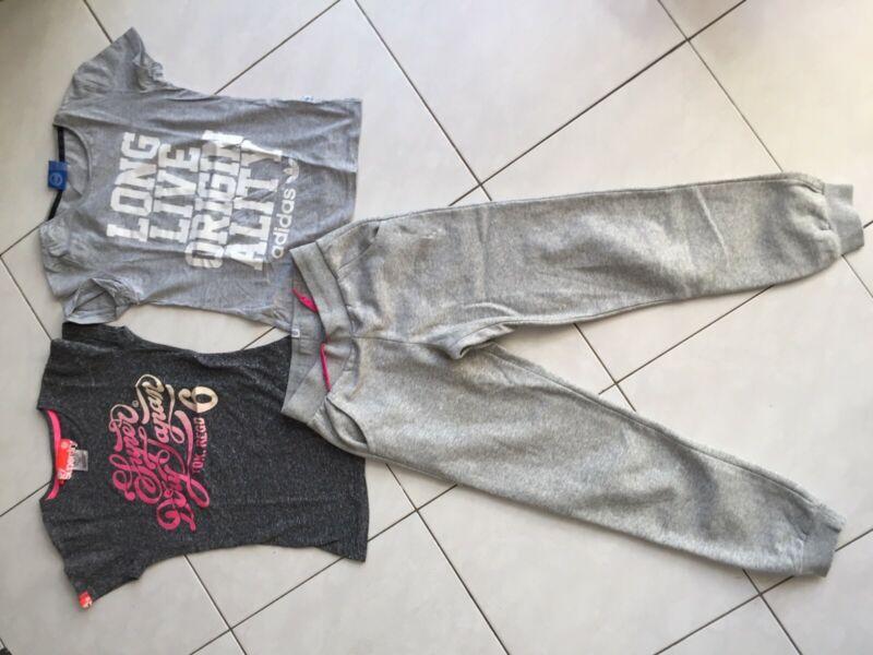Kinder T-shirts Superdry (s) Und Adidas (xs) Und Passende Jogginghose (164)