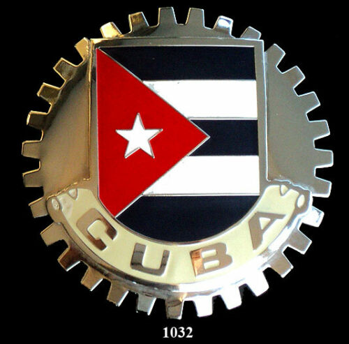 CAR GRILLE EMBLEM BADGES FLAG CUBA