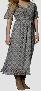 Woman-within-Grey-Chiffon-Dress-Plus-Size-30-32-34-print-lined-225