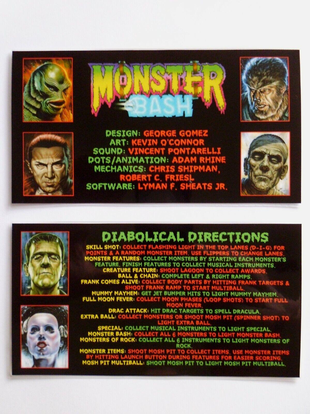 * * 'MONSTER BASH' Custom Instruction/Apron Cards * * (New)