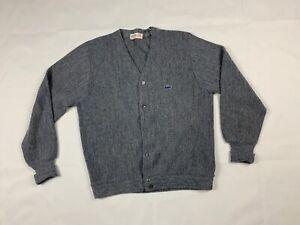 IZOD-London-Vintage-Orlon-Acryl-Grau-Cardigan-Sweater-USA-Medium