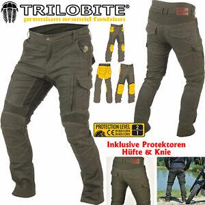 TRILOBITE-Motorrad-Jeans-ACID-SCRAMBLER-khaki-mit-Protektoren-Knie-Hufte-34-32
