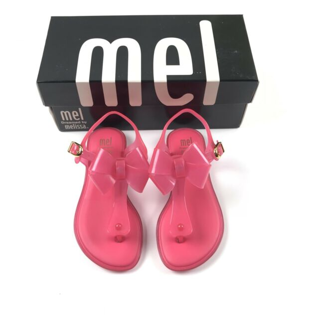 Mel Dreamed by Melissa Solar T Strap Sandals Girls Size 11 Neon Pink Double Bow
