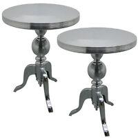 Pair/round Tables 54cm Tops Aluminium Wine Lamp Side Occasional Bistro Table