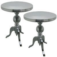 Pair/round Tables 54cm Tops Aluminium Wine Lamp Side Occasional Bistro Table