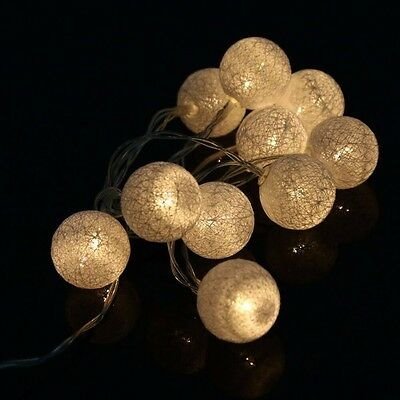 10/20 LED Cotton Ball Battery String Light Holiday Wedding Party Christmas Decor