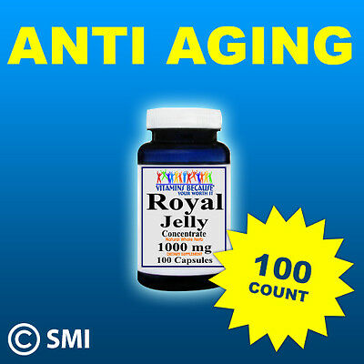 Royal Jelly Anti Aging, Energy Herb 100 Capsules 1000mg Purity Quality Made USA