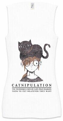 Designer TOP Shirt T-Shirt LADY CAT Strass Katze Tanktop Elasthan S M L XL NEU