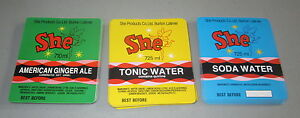 Wholesale lot of 300 Old Vintage SHE Ginger Ale Soda / Water LABELS - Fairy