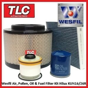 Wesfil-Air-Fuel-Oil-Cabin-Filter-Kit-Hilux-KUN16R-KUN26R-3-0L-1KD-FTV-04-05-on