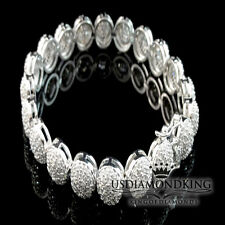 LADIES WOMENS THICK LAB SIMULATED DIAMOND WHITE GOLD FINISH TENNIS BRACELET 7.5""