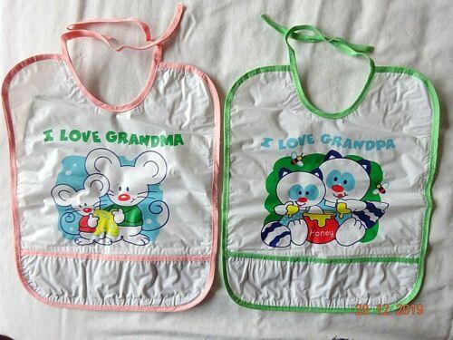 I LOVE MY GRANDMA /& GRANDPA PVC FABRIC MESSY LARGE BABY FEEDING 2 TIE BACK BIBS