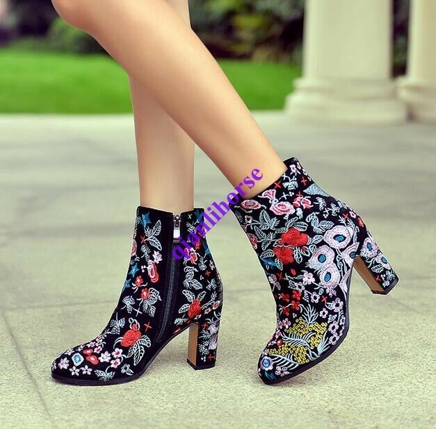 Women's Faux Suede Ankle Boots Flower Blcok Heel colorful Knight Boot shoes Size