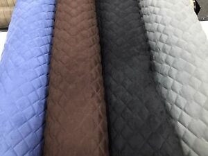 QUILTED SUEDE FABRIC Soft Furnishings Upholstery Insulation Numnahs Automotive
