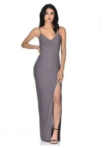 4c4718aea3 AX Paris Womens Grey Wrap V Neck Maxi Dress Spaghetti Straps ...