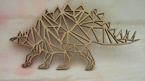 Stegosaurus geométrica Mdf Dinosaurio Craft en Blanco Tamaños Variados