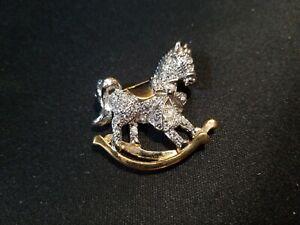 Rocking Horse Brooch Gold tone Vintage