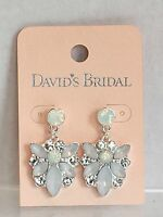 David's Bridal Post Earrings Frosted White With Clear Rhinestones