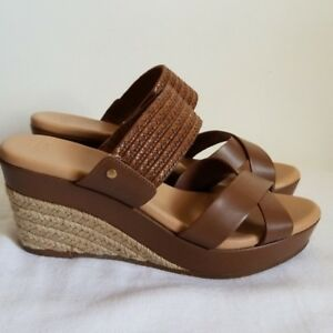 3757b705be1 Details about Ugg Adriana Brown Leather Wedge Heels Sandals Womens Size 10  US 41 EU New