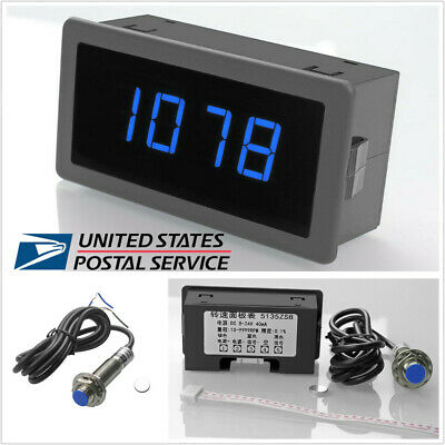 #US 4 Digital LED Tachometer RPM Speed Meter /& NPN Hall Proximity Switch Sensors