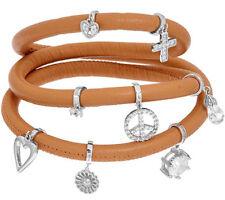 "Diamonique Charm Leather and Sterling Silver Wrap 7-1/4"" Tan Bracelet $108 QVC"