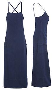 außergewöhnliche Farbpalette Vorschau von schön billig Details zu NEU Damen lang Jeanskleid ärmellos Langleine Maxikleider Indigo  Größe 8-10 12