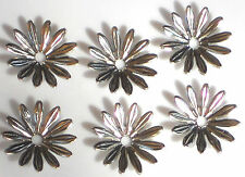 #1397 Vintage Beads Flowers Connectors Spacer Gun Metal Caps Silver 15mm Daisy