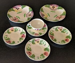7-pc-ANTIQUE-Hautin-amp-Boulanger-Choisy-le-Roi-FRANCE-PANSIES-PLATE-CUP-MAJOLICA