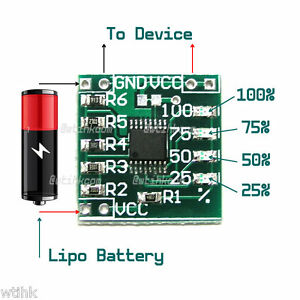 Details about 1S Single Cell Lipo Battery Voltage Status LED Indicator  Gauge Module