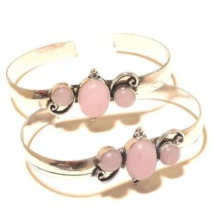 Rose-Quartz-Silver-Plated-Bangel-Cuff-Jewellery-Free-Shipping