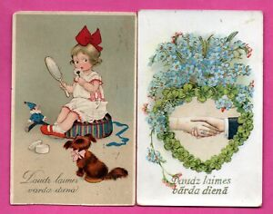 Letonia-Lettland-Antigua-Lote-de-4-Vintage-Tarjetas-Postales-Uno-Usado-237