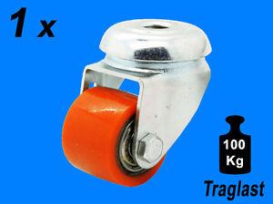 1-x-35mm-Polyurethan-Rueckenloch-Schwerlast-Rolle-Lenkrolle-Traglast-100-Kg-Lenk