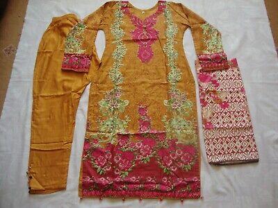 Pakistani Indian Linen Suit printed brown Asian Ready Made Salwar Kameez 2019