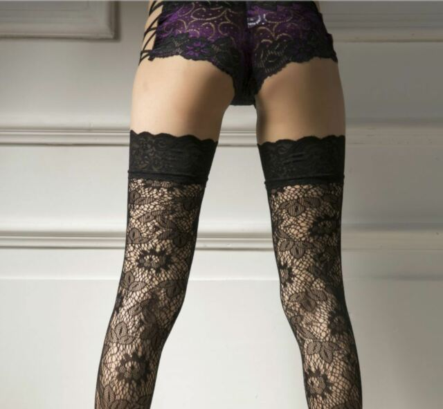 bdc739157 Sexy Womens ladies Black Sheer Lace Top Thigh High Stockings Hosiery  Hold-ups