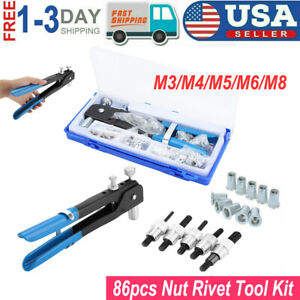 86pcs M3-M8 Hand Nut Rivet Gun Riveter Rivnut Nutsert Threaded Nut Riveting Tool
