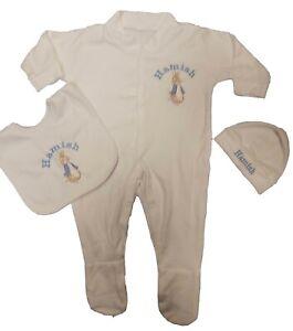 Personalised Bibs Newborn Baby Gift Baby Shower New Baby Gift Baby Bib SET Personalised Peter Rabbit Baby Bib