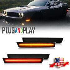 For 2015 2021 Dodge Challenger Black Lens Side Marker Lights Led Kit Frontrear
