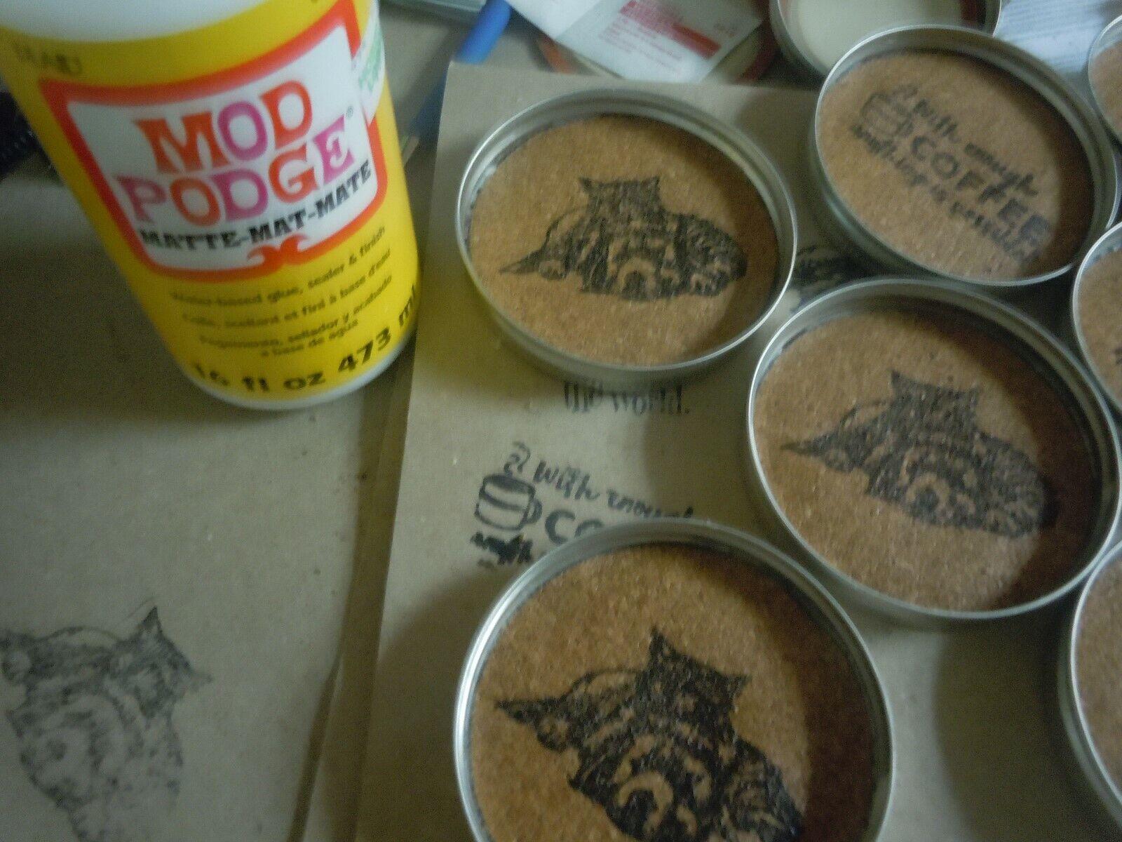 COASTER SET RT 66 MASON JAR LID Moisture absorbing cork Waterproof Ink Set of 4