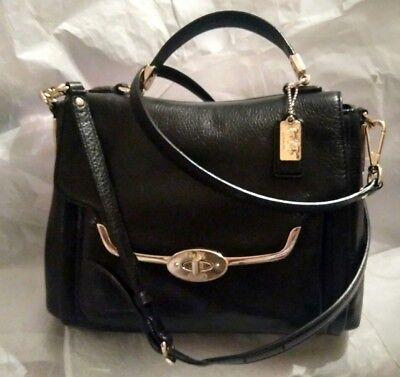 COACH Madison Madeline East West Black Soft Leather Convertible Satchel Bag