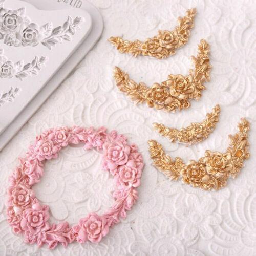 Rose Flower Garland Silicone Mold Cake Border Jewelry Wedding DIY Decor Tools