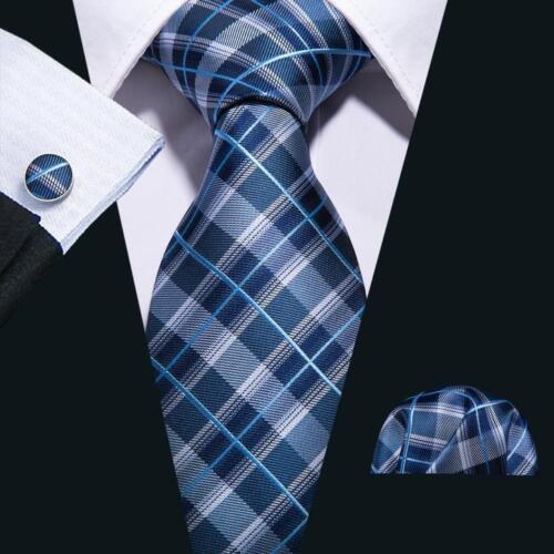 Mens Silk Tie Set Classic Navy Blue Striped Necktie Jacquard Woven Ties Business