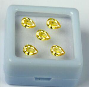 3.35 Ct Yellow Sapphire 5 x 3 mm Gems 5 Pcs Lot Natural Pear Cut Certified GP33
